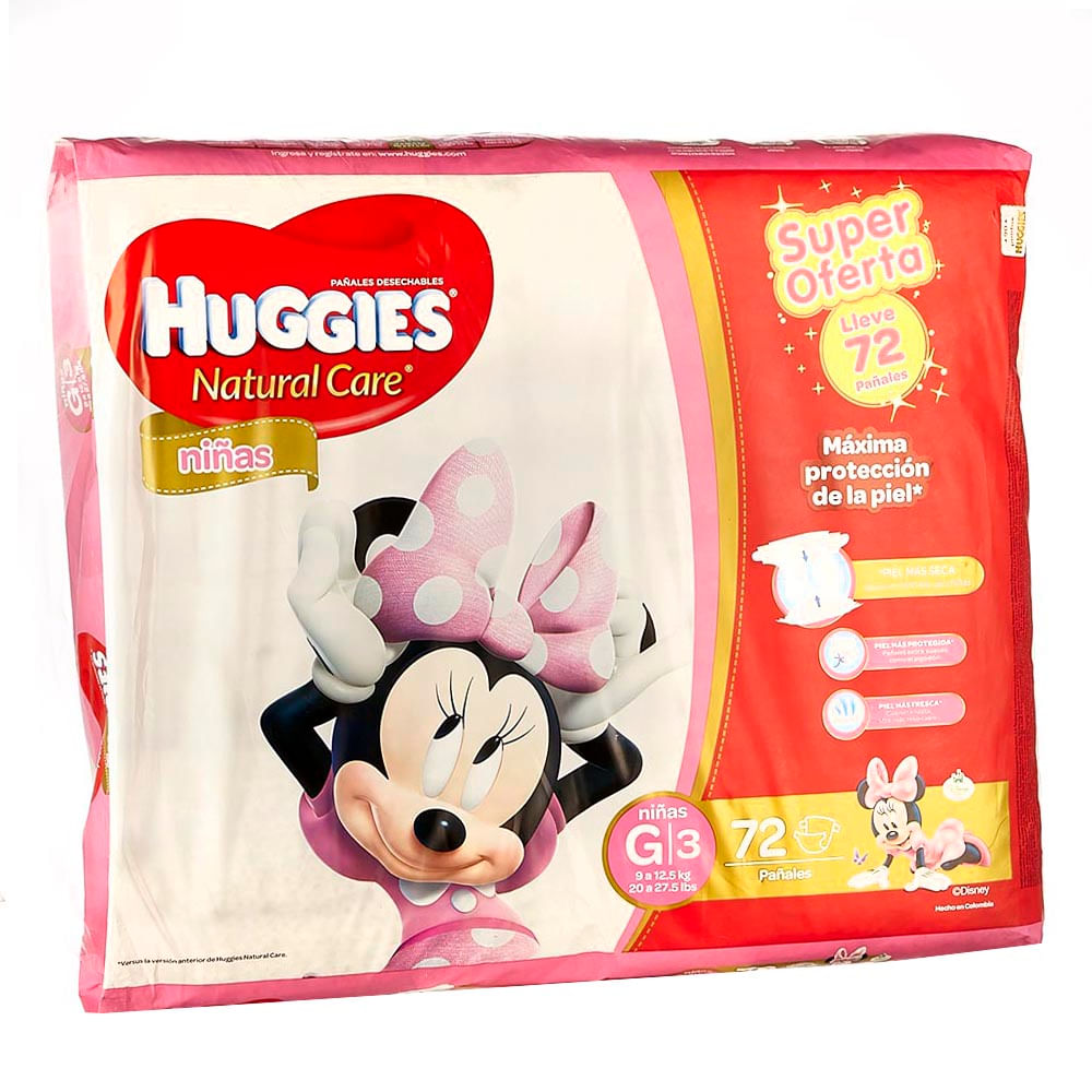 Pa Ales Natural Care Ni As Huggies Etapa 3 X 72 Und Extra  # Muebles Huggies