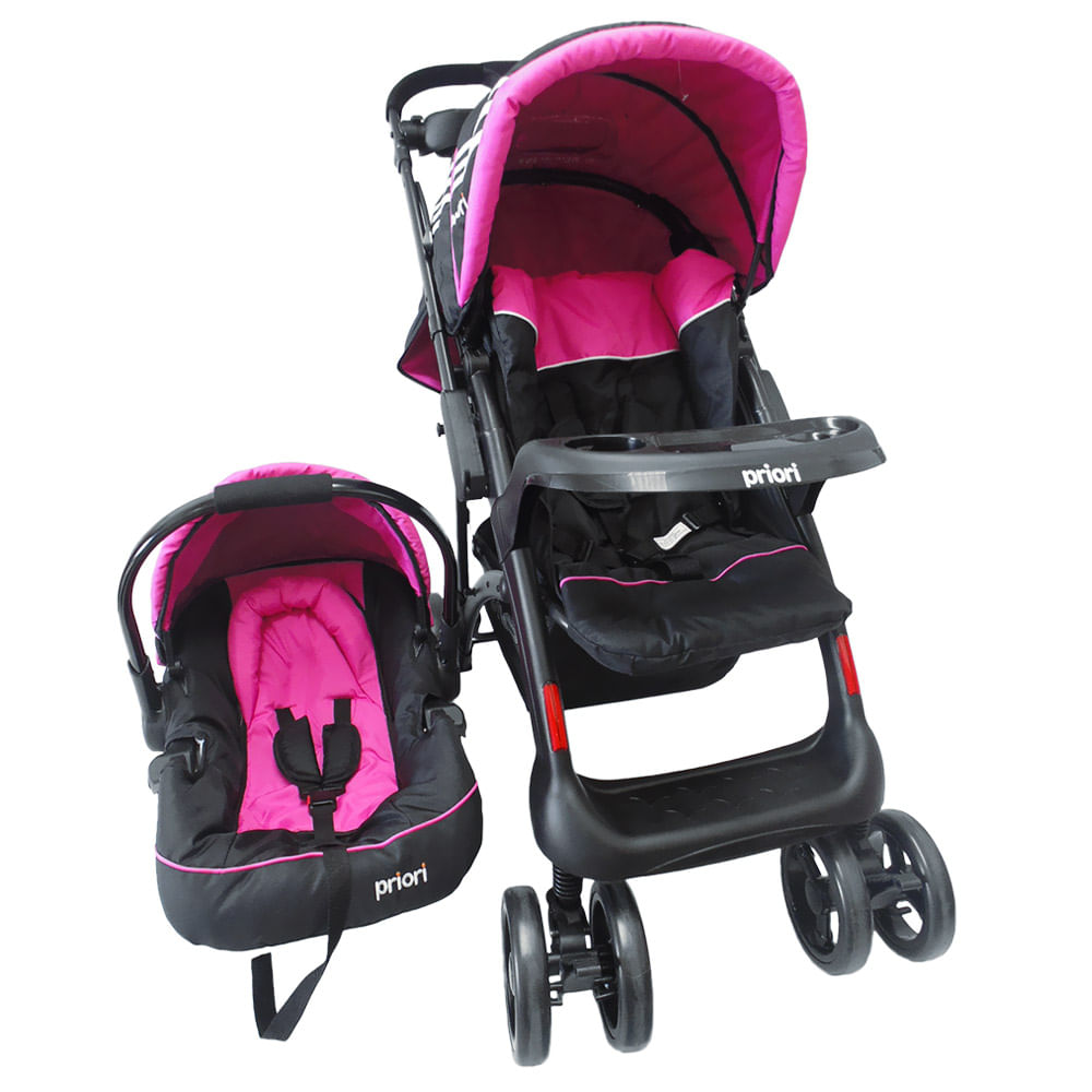 Coche town con porta bebe rosado priori for Precios sillitas bebe para coche
