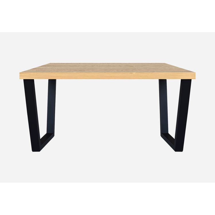 Mesa de comedor Voga 4 puestos rectangular Madera Pino Natural y metal negro