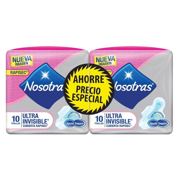 7702027416453-Toallas-Higienicas-Nosotras-Ultrainvisible-Rapigel-2paq-x-10und-1