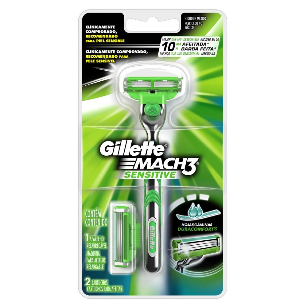 Maquina Gillette afeitar mach3 sensit + cartucho x 2 unds precio especial b3f5d5fe680b