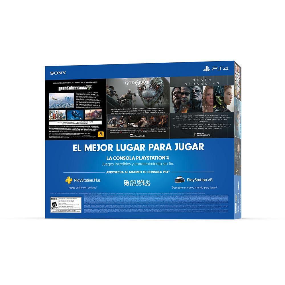 consola ps4 megapack x 3  gtav, death standing, god of war + play station plus 3 meses