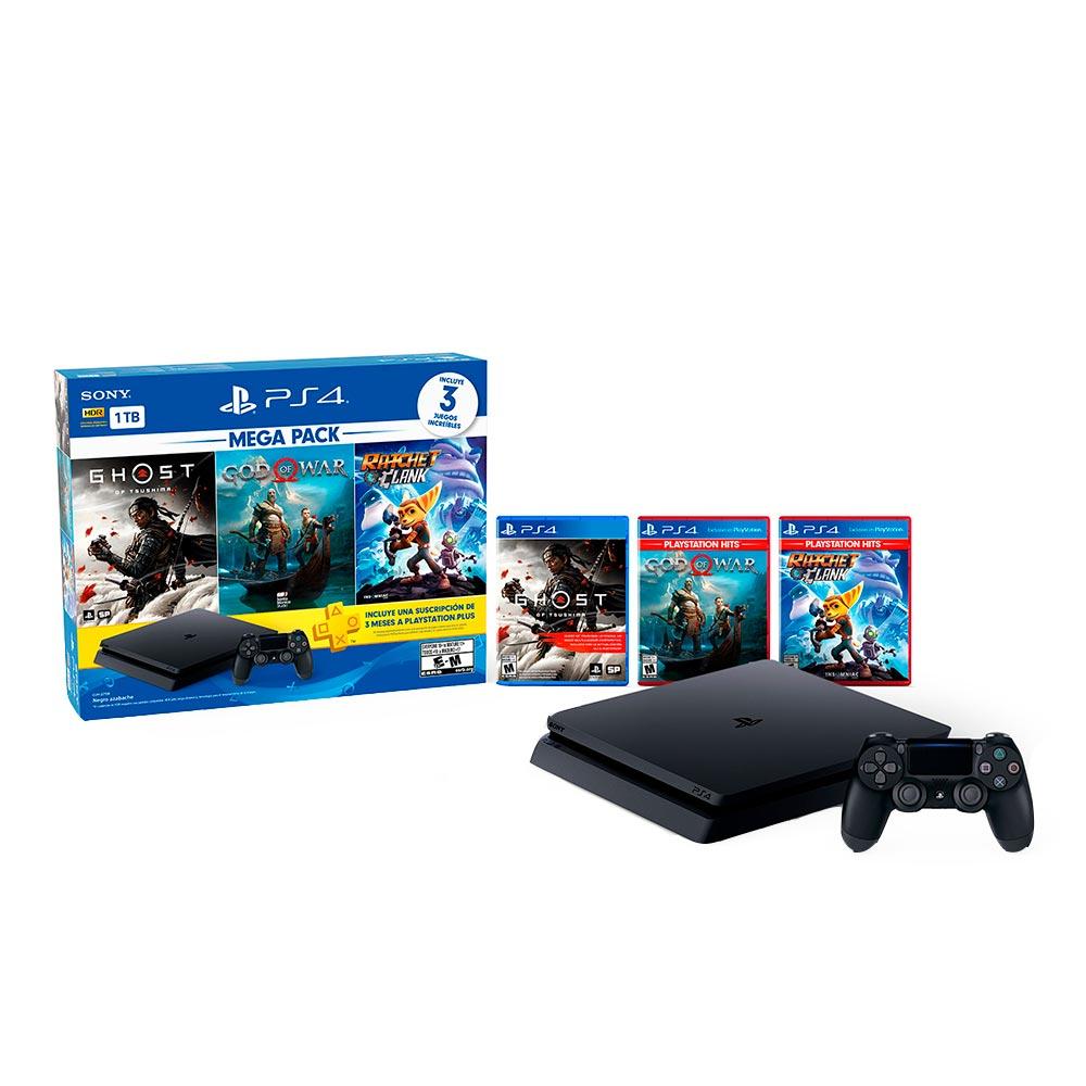 consola playstation ps4 1tb megapack 18 + 3 juegos ghost of tsushima, god of war y ratchet & clank